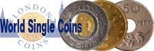 World Coins : Covers all world issues offered as individual items or small groups, including non English hammered and medieval issues, Scottish and Irish issues will be listed here also.
