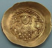London Coins : A122 : Lot 1143 : Byzantine. Michael VII (1071-78) gold Scyphate. Bust of Christ facing raising right hand in benedict...