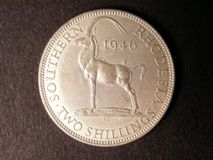 London Coins : A122 : Lot 1429 : Southern Rhodesia Two Shillings 1946 rare NEF some faint grey staining obverse right hand side near ...