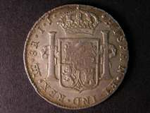 London Coins : A122 : Lot 1503 : Dollar George III Octagonal Countermark on a Peru 8 Reales 1796 LIMA mintmark ESC 140A (R2) counterm...