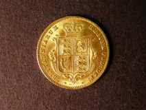 London Coins : A122 : Lot 1596 : Half Sovereign 1860 small 8 over large 8 in date unlisted by Marsh or Spink EF