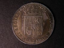 London Coins : A122 : Lot 1617 : Halfcrown 1689 ESC 510 Second Shield, Caul only frosted, with pearls, VF with some uneve...