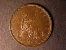 London Coins : A122 : Lot 1746 : Penny 1863 Freeman 42 dies 6+G EF