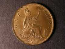 London Coins : A122 : Lot 1752 : Penny 1874H Freeman 73 dies 7+H Lustrous UNC with a few small spots and surface marks