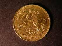 London Coins : A122 : Lot 1932 : Sovereign 1892 S.3866C Horse with longer tail F/GF