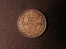 London Coins : A124 : Lot 1019 : Threepence 1893 Jubilee Head ESC 2103 UNC and nicely toned with some light cabinet friction on the r...