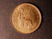 London Coins : A124 : Lot 595 : Halfpenny 1879 Freeman 339 dies 15+O UNC with almost full lustre
