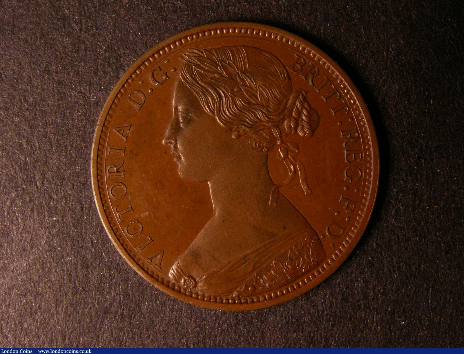 Penny 1861 Copper Proof with bronzed finish Freeman 36 dies 6+G with last 1 in date low and double-cut, a few minor handling marks and a couple of tiny surface nicks otherwise FDC  : English Coins : Auction 124 : Lot 694