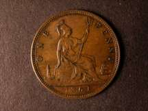 London Coins : A124 : Lot 697 : Penny 1861 Freeman 26 dies 5+D toned UNC with some light pits on the obverse