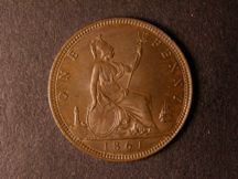 London Coins : A124 : Lot 698 : Penny 1861 Freeman 29 dies 6+D toned UNC with traces of lustre