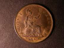London Coins : A124 : Lot 703 : Penny 1865 5 over 3 Freeman 51 dies 6+G GEF with traces of lustre, very rare as such