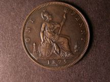 London Coins : A124 : Lot 737 : Penny 1875H Freeman 85 dies 8+J NEF darkly toned