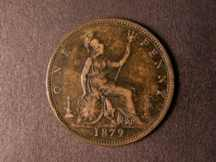 London Coins : A124 : Lot 744 : Penny 1879 Close Date Freeman 98 dies 9+K GF with toning, rare