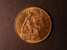 London Coins : A124 : Lot 807 : Penny 1905 Freeman 161 dies 1+C UNC with very good, slightly streaky lustre