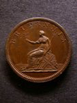 London Coins : A125 : Lot 1052 : Halfpenny 1806 Proof KH37 in bronzed Copper Peck 1365 Very Scarce UNC with a few spots