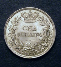 London Coins : A126 : Lot 1409 : Shilling 1834 ESC 1268 Toned UNC with minor cabinet friction