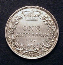 London Coins : A126 : Lot 1420 : Shilling 1885 ESC 1303 GVF with some hairline scratches and surface marks