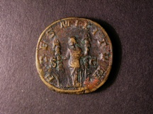 London Coins : A126 : Lot 841 : Sestertius Philip I (244-249 AD) Ae R. FIDES MILITUM. Fides standing left holding two standards. R.C...