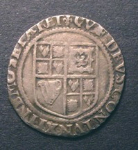 London Coins : A126 : Lot 855 : Shilling James I Third Coinage Sixth Bust (Large) S.2668 mintmark Lis Fine