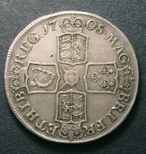 London Coins : A126 : Lot 904 : Crown 1708 Second Bust SEPTIMO edge ESC 105 Good Fine with a few old scratches in the reverse field
