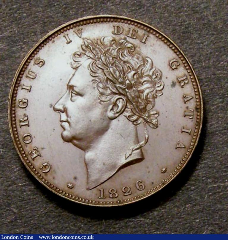 Farthing 1826 Bronzed proof Peck 1440  nFDC with a few light spots on the obverse : English Coins : Auction 128 : Lot 1211