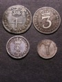 London Coins : A129 : Lot 1597 : Maundy Set 1691 ESC 2385 Threepence NF others GF-GVF