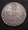 London Coins : A129 : Lot 1749 : Shilling 1723 SSC Second Bust ESC 1178 GVF/NEF with a pleasing blue tone on the reverse