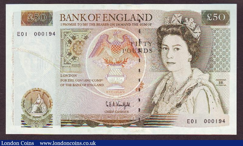 Fifty pounds Kentfield B361 issued 1991 first run low number E01 000194, Sir Christopher Wren on reverse, counting flick only, about UNC to UNC : English Banknotes : Auction 130 : Lot 108