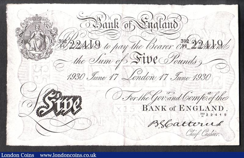 Five pounds Catterns white B228 dated 17 June 1930 prefix 392/H, pinholes top left, about EF : English Banknotes : Auction 130 : Lot 130