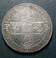 London Coins : A130 : Lot 1323 : Halfcrown 1746 LIMA ESC 606 NEF with a few light haymarks on either side