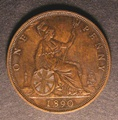 London Coins : A130 : Lot 1632 : Penny 1890 Close Date with 'dropped' 90 Gouby BP1890 Aa VF/GVF and very rare