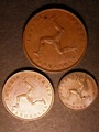 London Coins : A130 : Lot 524 : Isle of Man (3) Penny 1839 S.7417, Halfpenny S.7418, Farthing S.7419 GEF-UNC with traces of ...