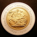 London Coins : A131 : Lot 500 : Australia 100 Dollars 1999 The Perth Mint Centenary Sovereign KM#383 Bi-metallic, Gold surrounde...