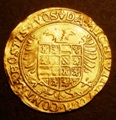 London Coins : A131 : Lot 571 : Scotland Bawbee James V S.5383 GVF with slight weakness on the top of the thistle, and a small f...