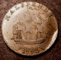 London Coins : A131 : Lot 601 : USA Washington Halfpenny 1793 3 over 2 Breen 1225 edge reads PAYABLE IN ANGLESEY LONDON OR LIVERPOOL...