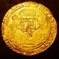 London Coins : A131 : Lot 976 : Half Sovereign Henry VIII Posthumous Coinage S.2392 with K below shield and no mintmark VF with a fe...