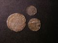 London Coins : A132 : Lot 651 : Threepence Elizabeth I 1575 5 over 4 mintmark Eglantine VF, Penny Elizabeth I Third or Fourth is...