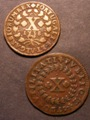 London Coins : A132 : Lot 755 : Portugal 10 Reis (2) 1720 KM#191 GF, 1738 KM#227 Fine once cleaned