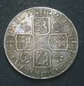 London Coins : A133 : Lot 244 : Crown 1720 20 over 18 ESC 113 Fine, the reverse a little better, the obverse with a dig in t...