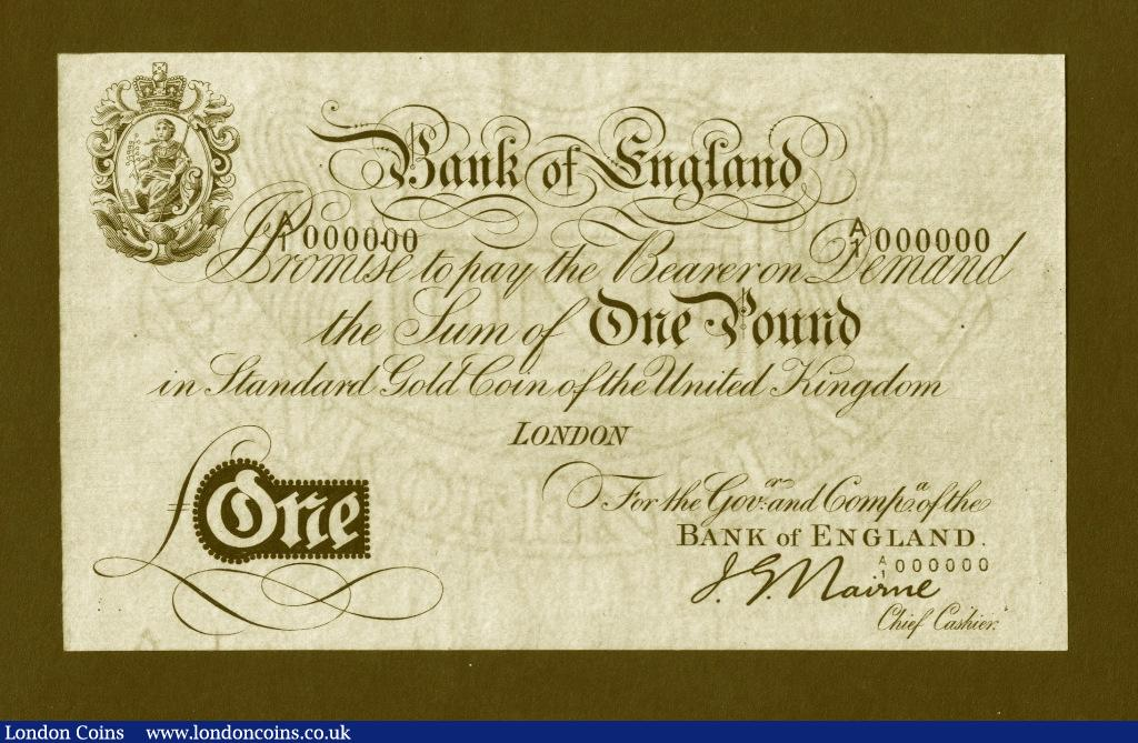 One Pound Nairne Gold Note. A/1 000000. B208A. About UNC and very rare thus.  : English Banknotes : Auction 133 : Lot 2485