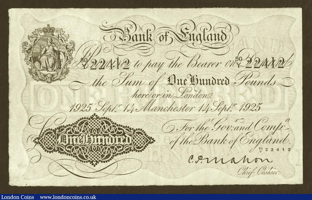 One Hundred Pounds Mahon, 14th September 1925. 50/Y 22412. Grade EF or better and rare thus.  : English Banknotes : Auction 133 : Lot 2514