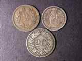 London Coins : A134 : Lot 1303 : Switzerland (3) 20 Rappen 1851 KM#7 About Fine, Half Franc 1894A KM#23 GVF/VF toned, 2 Rappe...