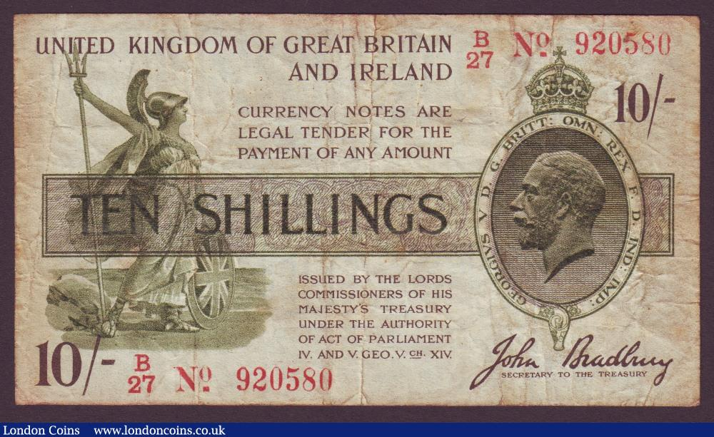 Treasury 10 shillings Bradbury T20 issued 1918 serial B/27 920580, (No. with dash), stained Fine : English Banknotes : Auction 134 : Lot 152