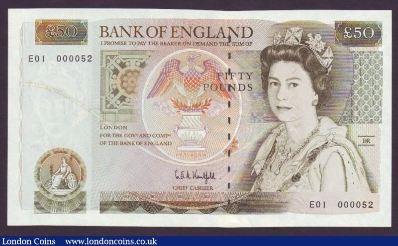 Fifty Pounds Kentfield. B361. E01 First series. E01 000052. Very low number and scarce thus. UNC. : English Banknotes : Auction 134 : Lot 210