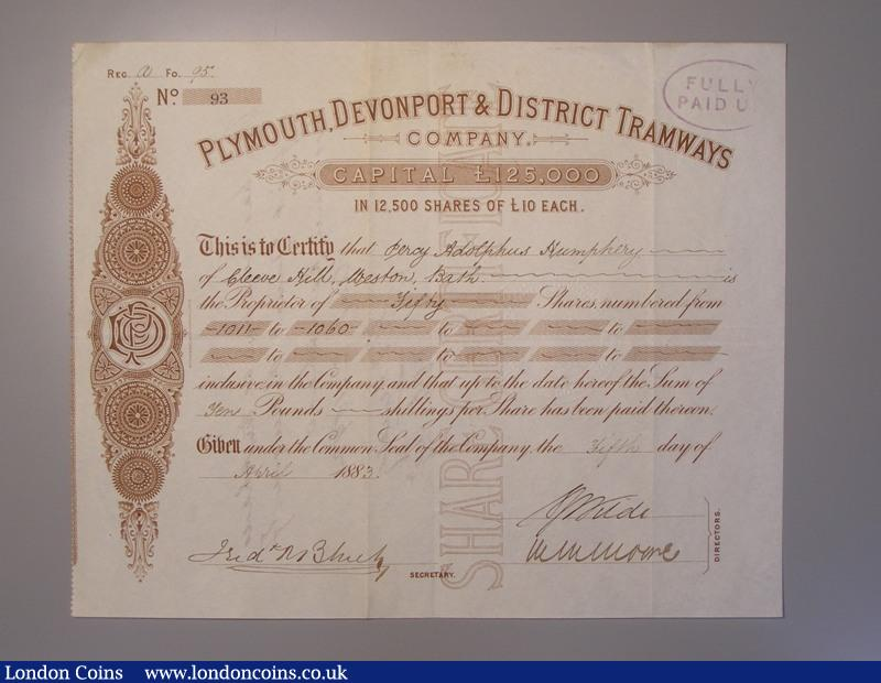 Great Britain, Plymouth, Devonport & District Tramways Co., share certificate, 1883, ornate design, brown, VF. (1). : Bonds and Shares : Auction 134 : Lot 51