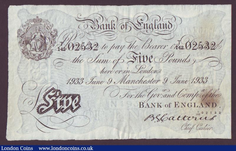 Five pounds Catterns white B228 dated 9 June 1933 serial T/142 02532, Manchester branch issue, stain centre right, GVF : English Banknotes : Auction 135 : Lot 199