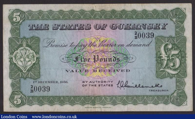 Guernsey £5 dated 1st December 1956 series 2/B 0039, Pick44a, about VF : World Banknotes : Auction 135 : Lot 576