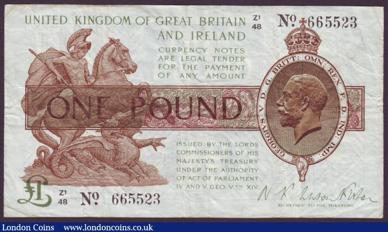 One pound Warren Fisher T31 issued 1923 series Z1/48 665523, a control note, good Fine : English Banknotes : Auction 137 : Lot 151