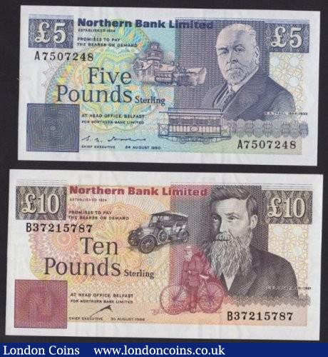 Northern Ireland Northern Bank Limited (2) £5 dated 1990 series A7507248 Pick193b & £10 1996 series B37215787 Pick194c, UNC : World Banknotes : Auction 139 : Lot 375