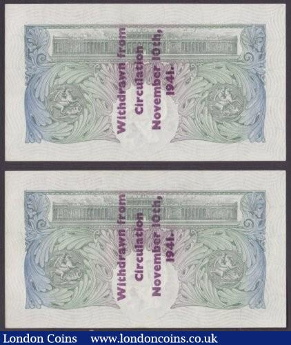 "One pound Peppiatt B239C Guernsey overprint consecutive pair series E15A 781699 & E15A 781700, ""Withdrawn from circulation November 10th, 1941"", about UNC and scarce as a pair : English Banknotes : Auction 140 : Lot 157"